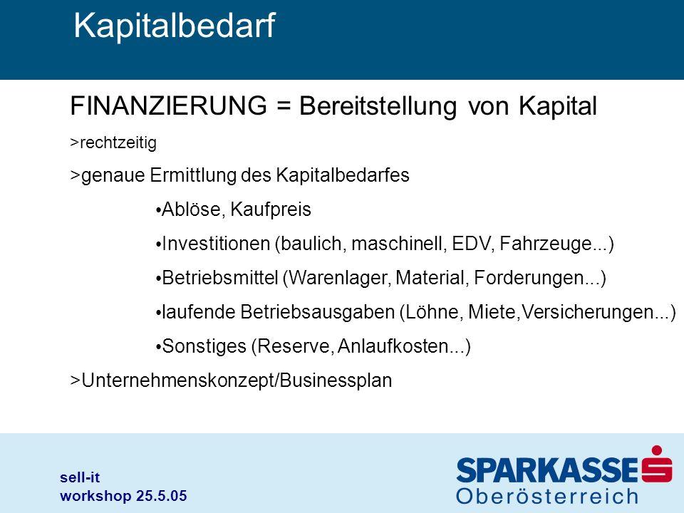 sell-it workshop 25.5.05 Kapitalbedarf FINANZIERUNG = Bereitstellung von Kapital >rechtzeitig >genaue Ermittlung des Kapitalbedarfes Ablöse, Kaufpreis