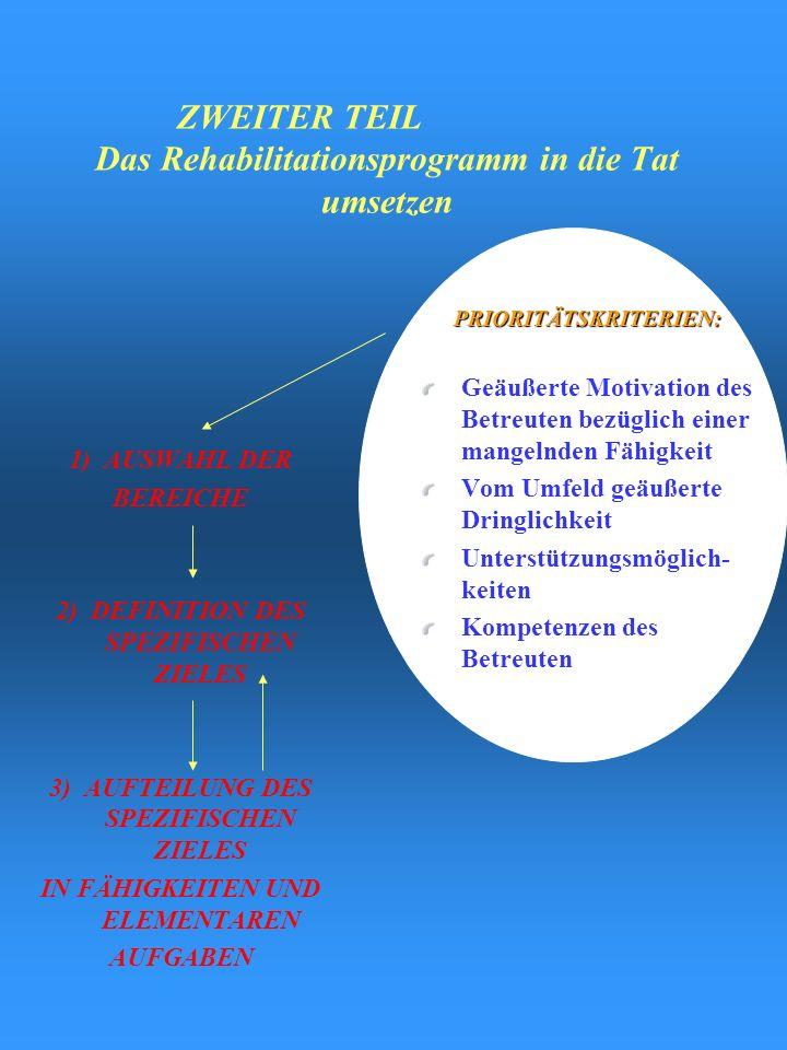 B.F. Bewertung der Fähigkeiten AUSHANDELNAbsprechenGedanken-austausch DEFINITION DESSPEZIFISCHENZIELES