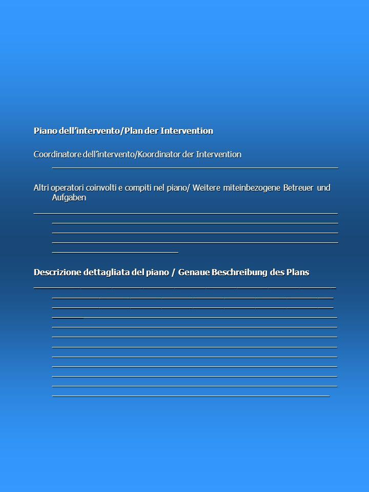 Le abilità richieste sono presenti tutte in gran parte in piccola parte nessuna Die notwendigen Fähigkeiten sind alle großteils wenige keine vorhanden Se non sono presenti/wenn nicht vorhanden: Le abilità richieste erano presenti tutte in gran parte in piccola parte nessuna Die notwendigen Fähigkeiten waren alle großteils wenige keine vorhanden Le risorse necessarie sono presenti tutte in gran parte in piccola parte nessuna Die notwendigen Ressourcen sind vorhanden alle großteils wenige keine Obiettivo concordato con P/Ziel mit P vereinbart completamente/gänzlich in parte/zum Teil no/nein