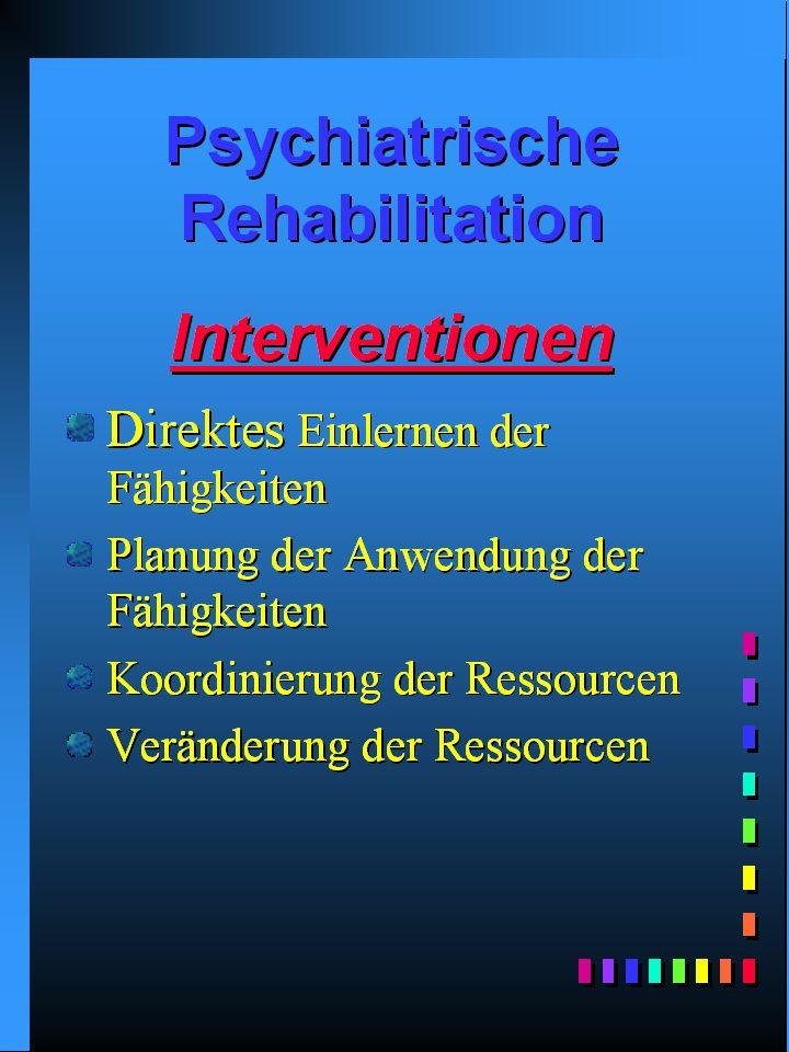 Prinzipien der Rehabilitation Individuum/Person Miteinbeziehung/Wahl Verantwortungsbewusstsein des Betreuten (Benutzers) Natürliches Umfeld Optimismus/Hoffen