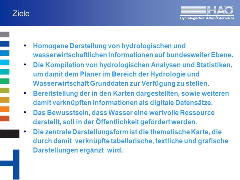 Ziele Homogene Darstellung von hydrologischen und wasserwirtschaftlichen Informationen auf bundesweiter Ebene. Die Kompilation von hydrologischen Anal