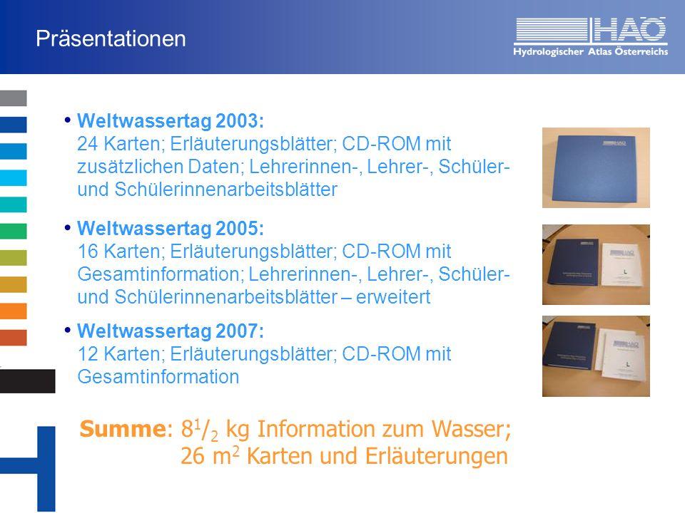 Präsentationen Weltwassertag 2003: 24 Karten; Erläuterungsblätter; CD-ROM mit zusätzlichen Daten; Lehrerinnen-, Lehrer-, Schüler- und Schülerinnenarbe