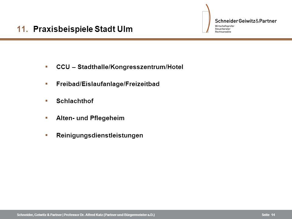 Schneider, Geiwitz & Partner | Professor Dr. Alfred Katz (Partner und Bürgermeister a.D.)Seite 14 11. Praxisbeispiele Stadt Ulm CCU – Stadthalle/Kongr