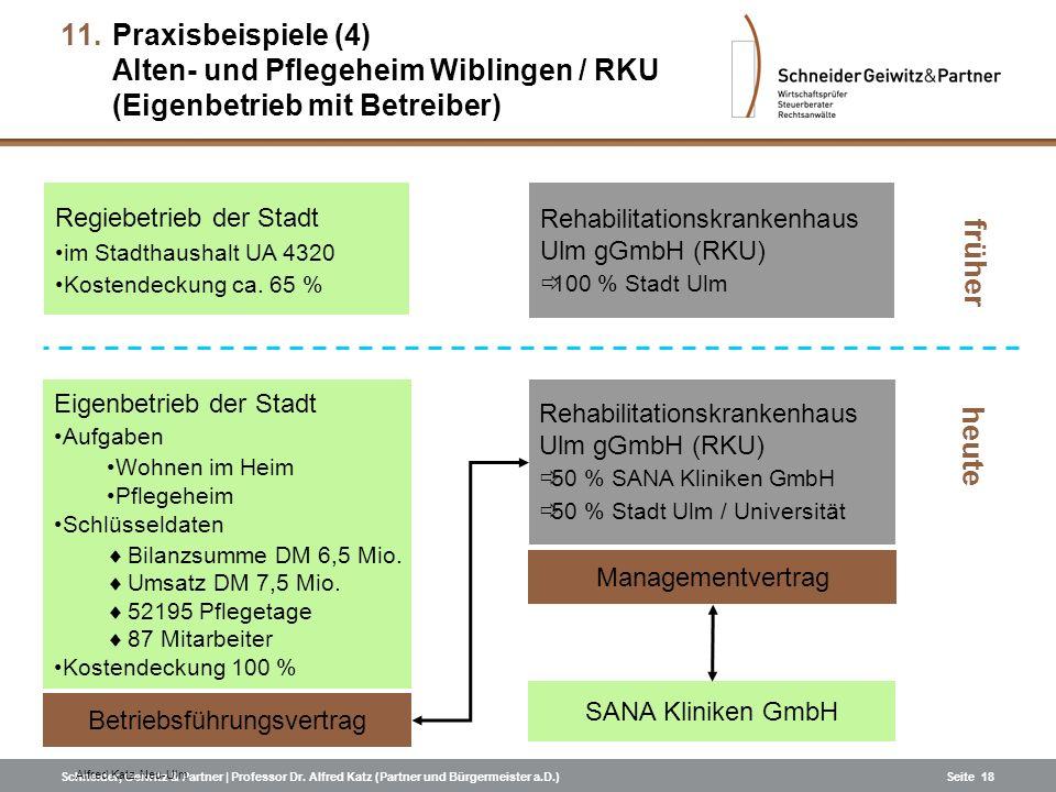 Schneider, Geiwitz & Partner | Professor Dr. Alfred Katz (Partner und Bürgermeister a.D.)Seite 18 Regiebetrieb der Stadt im Stadthaushalt UA 4320 Kost