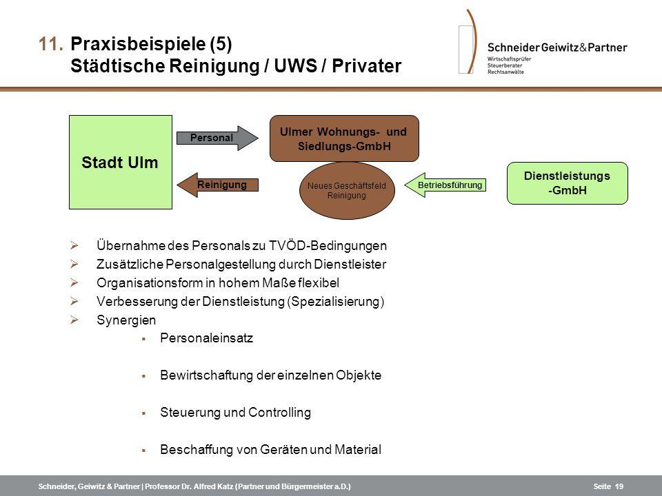 Schneider, Geiwitz & Partner | Professor Dr. Alfred Katz (Partner und Bürgermeister a.D.)Seite 19 Übernahme des Personals zu TVÖD-Bedingungen Zusätzli