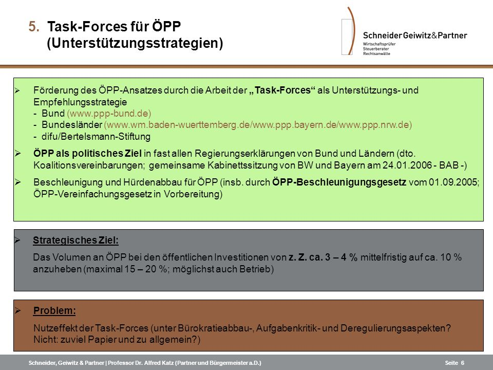 Schneider, Geiwitz & Partner | Professor Dr. Alfred Katz (Partner und Bürgermeister a.D.)Seite 6 Förderung des ÖPP-Ansatzes durch die Arbeit der Task-