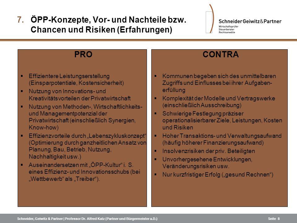 Schneider, Geiwitz & Partner | Professor Dr. Alfred Katz (Partner und Bürgermeister a.D.)Seite 8 7.ÖPP-Konzepte, Vor- und Nachteile bzw. Chancen und R