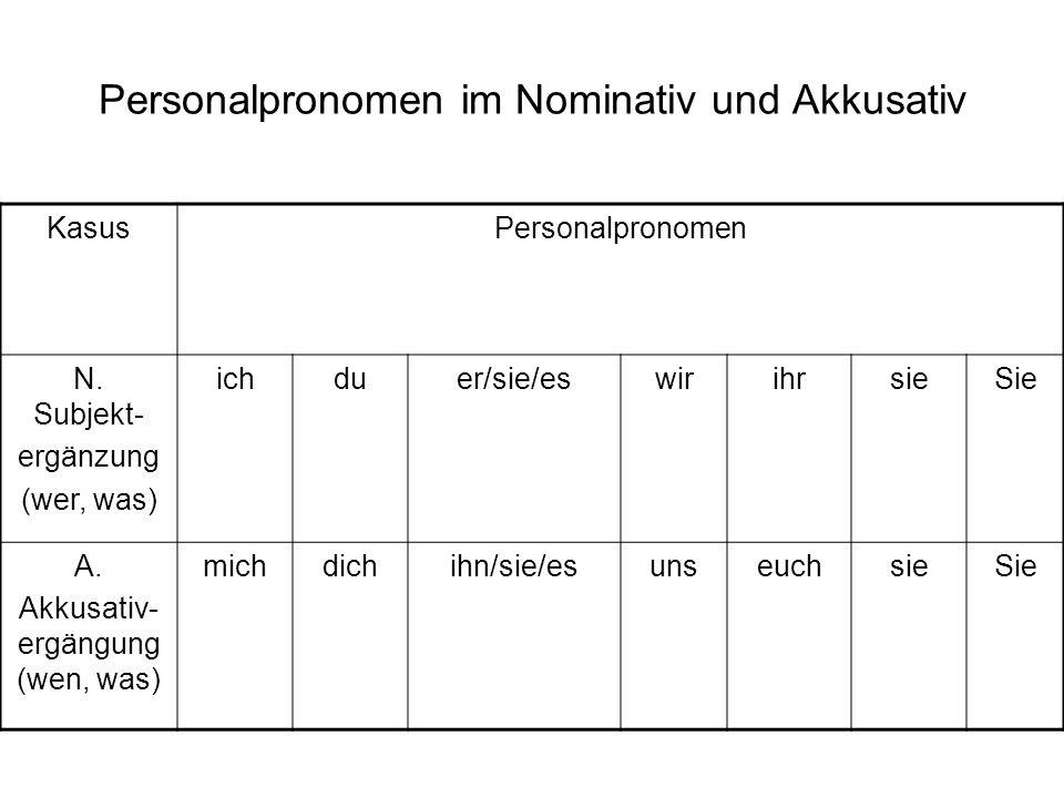 Personalpronomen im Nominativ und Akkusativ KasusPersonalpronomen N. Subjekt- ergänzung (wer, was) ichduer/sie/eswirihrsieSie A. Akkusativ- ergängung