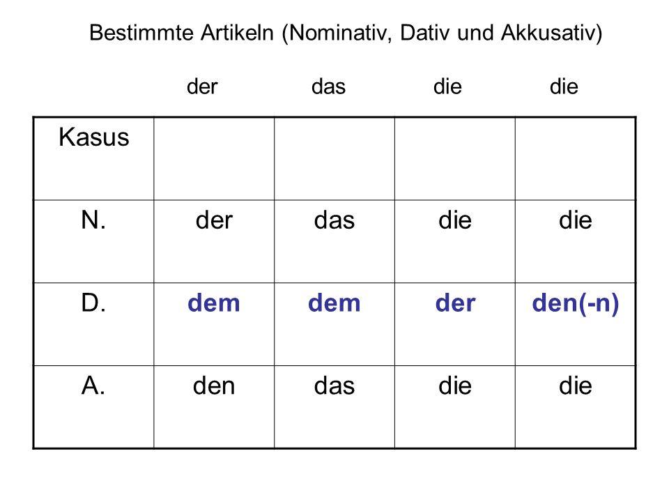 Bestimmte Artikeln (Nominativ, Dativ und Akkusativ) der das die die Kasus N.derdasdie D.dem derden(-n) A.dendasdie