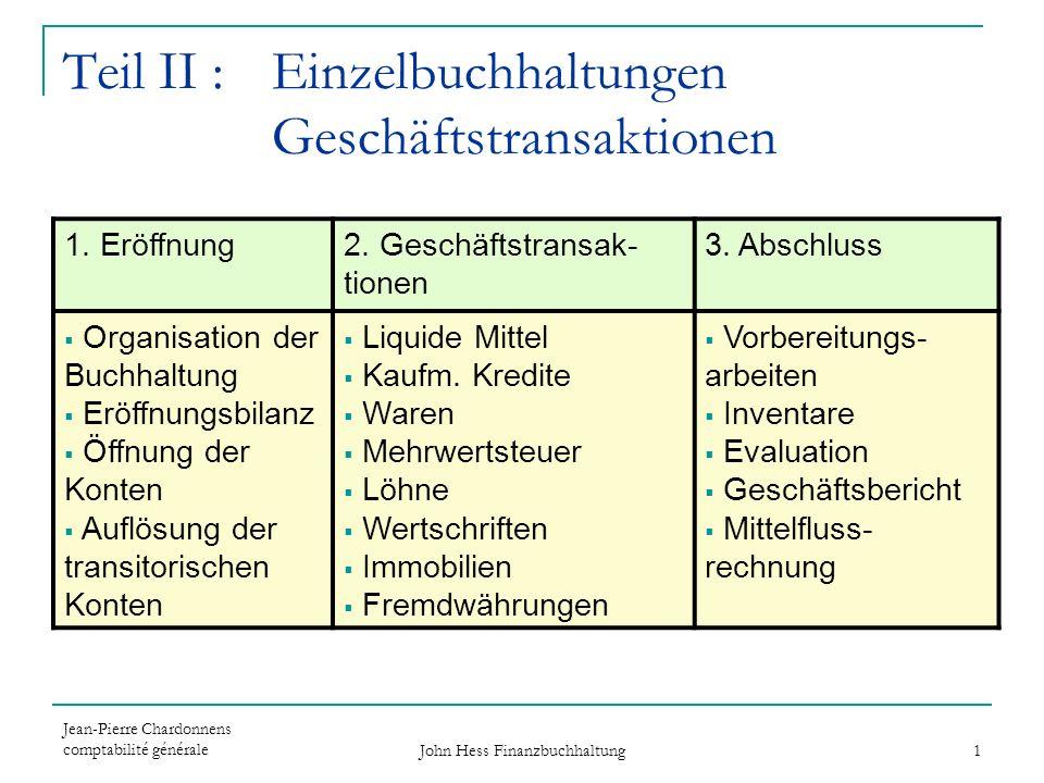 Jean-Pierre Chardonnens comptabilité générale John Hess Finanzbuchhaltung 1 Teil II : Einzelbuchhaltungen Geschäftstransaktionen 1. Eröffnung2. Geschä