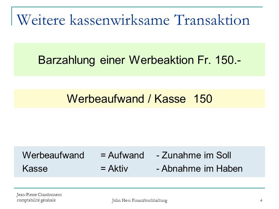 Jean-Pierre Chardonnens comptabilité générale John Hess Finanzbuchhaltung 4 Barzahlung einer Werbeaktion Fr. 150.- Werbeaufwand / Kasse 150 Werbeaufwa