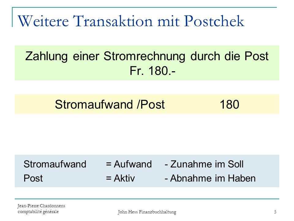 Jean-Pierre Chardonnens comptabilité générale John Hess Finanzbuchhaltung 5 Zahlung einer Stromrechnung durch die Post Fr. 180.- Stromaufwand /Post 18