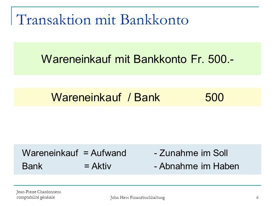 Jean-Pierre Chardonnens comptabilité générale John Hess Finanzbuchhaltung 6 Wareneinkauf mit Bankkonto Fr. 500.- Wareneinkauf / Bank 500 Wareneinkauf