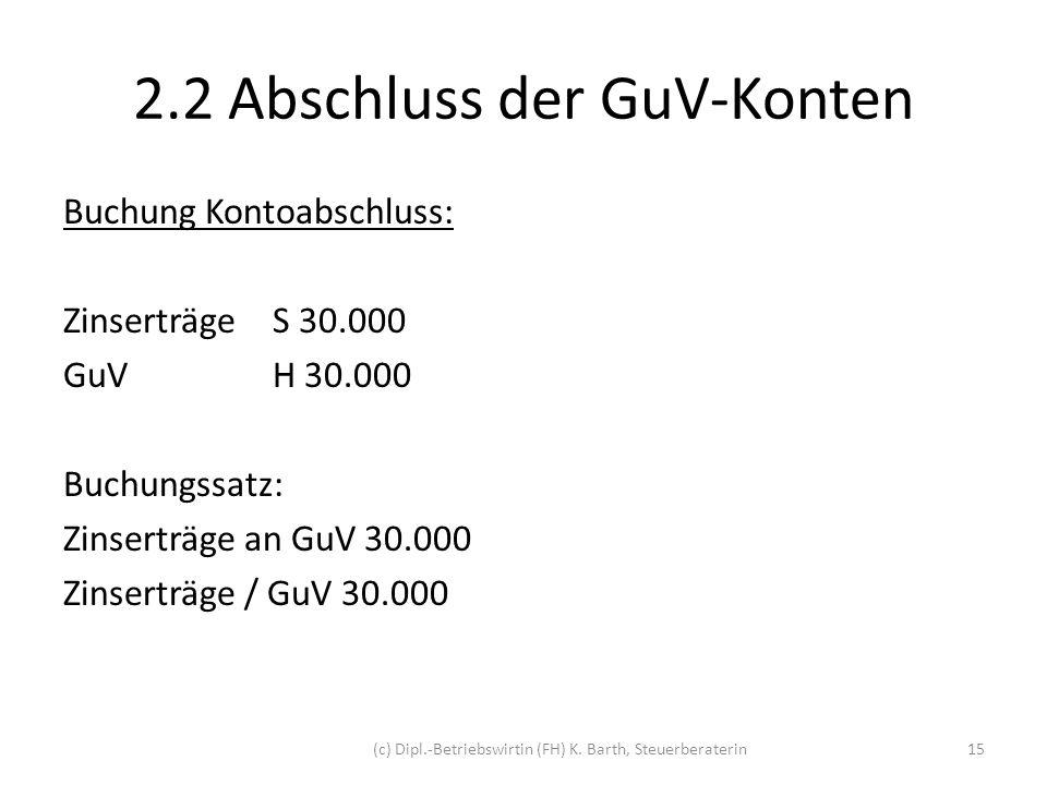2.2 Abschluss der GuV-Konten Darstellung der T-Konten: BS: Zinserträge an GuV 30.000 S ZinserträgeH GuV30.000div.