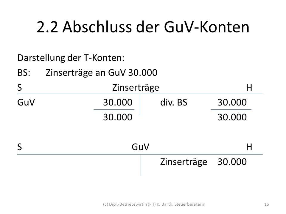 2.2 Abschluss der GuV-Konten Beispiel: Zinsaufwand 2010: 60.000 S ZinsaufwandH div.