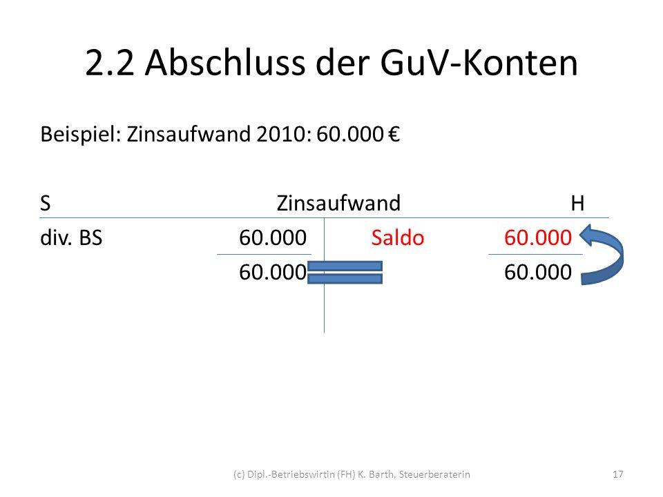 2.2 Abschluss der GuV-Konten Buchung Kontoabschluss: ZinsaufwandH 60.000 GuVS 60.000 Buchungssatz: GuV an Zinsaufwand 60.000 GuV / Zinsaufwand 60.000 (c) Dipl.-Betriebswirtin (FH) K.