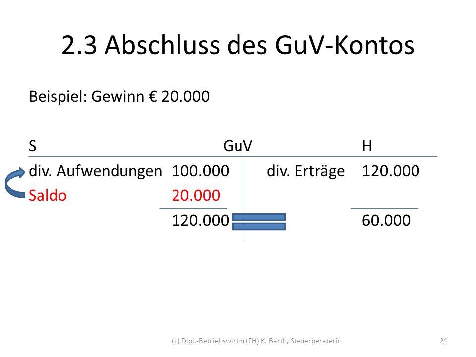 2.3 Abschluss des GuV-Kontos Buchung Kontoabschluss: GuV-KontoS 20.000 EigenkapitalH 20.000 Buchungssatz: GuV-Konto an Eigenkapital 20.000 GuV-Konto / Eigenkapital 20.000 (c) Dipl.-Betriebswirtin (FH) K.
