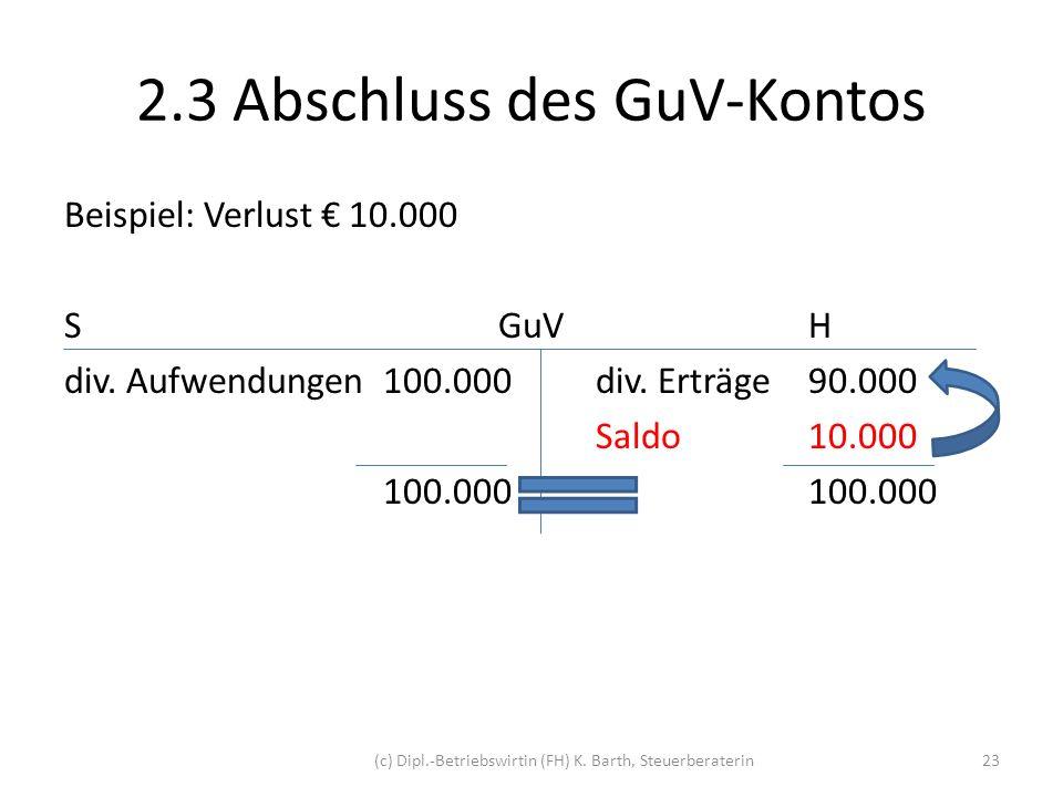 2.3 Abschluss des GuV-Kontos Buchung Kontoabschluss: GuV-KontoH 10.000 EigenkapitalS 10.000 Buchungssatz: Eigenkapital an GuV-Konto 10.000 Eigenkapital / GuV-Konto 10.000 (c) Dipl.-Betriebswirtin (FH) K.