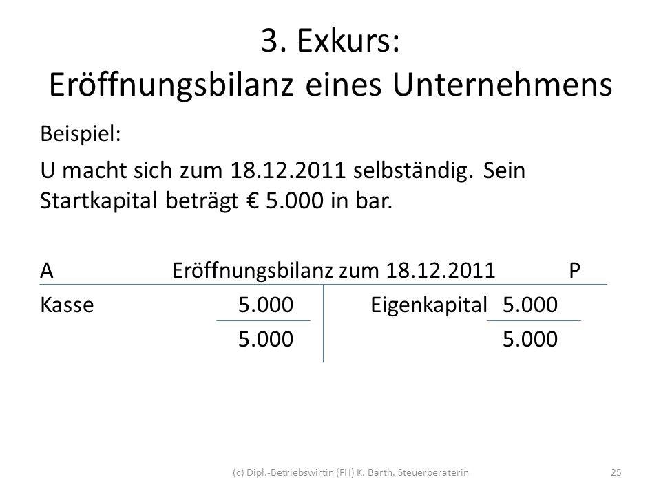 3. Exkurs: Eröffnungsbilanz eines Unternehmens Beispiel: U macht sich zum 18.12.2011 selbständig. Sein Startkapital beträgt 5.000 in bar. AEröffnungsb
