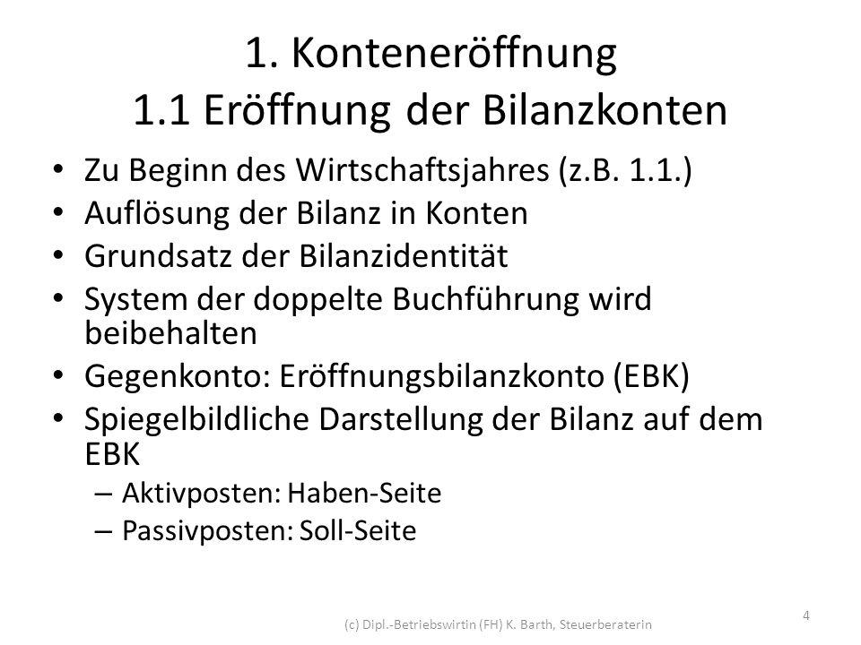 1.1 Eröffnung der Bilanzkonten Beispiel: Bankguthaben 10.000 per 31.12.2010 ABilanz zum 31.12.2010P AV40.000EK + FK70.000 Bank10.000 Sonst.