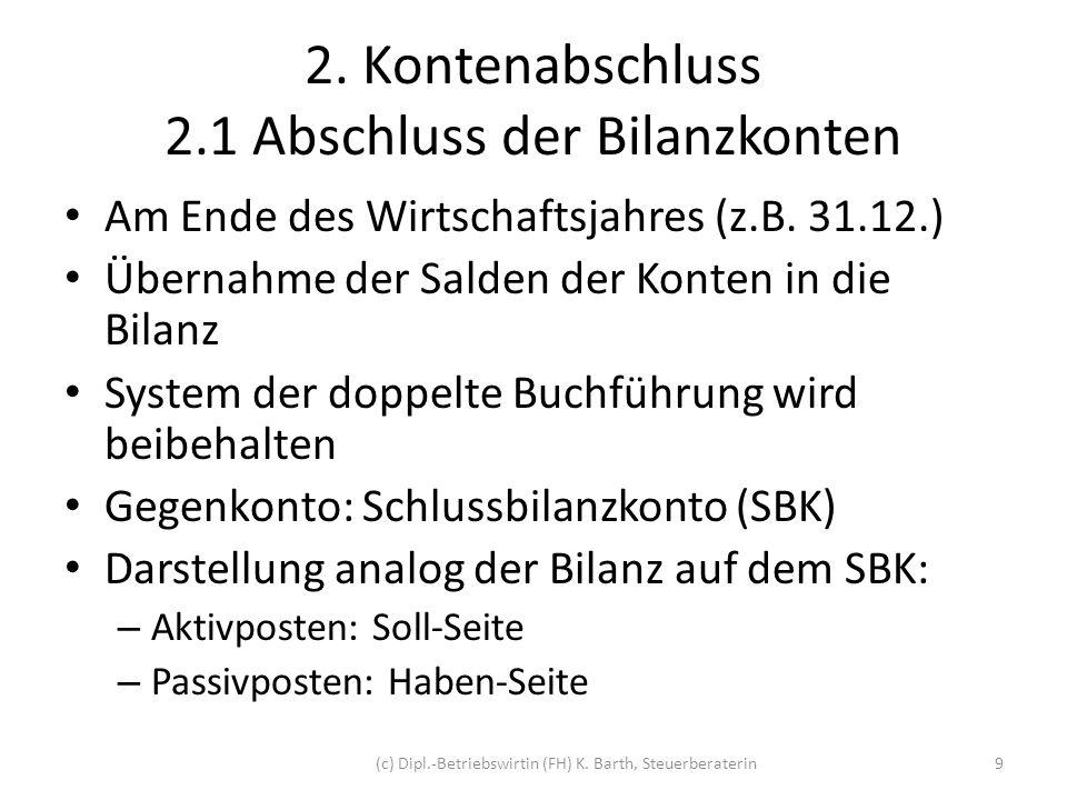 2.1 Abschluss der Bilanzkonten Beispiel: Bankguthaben 30.000 per 31.12.2011 SBankH AB10.000div.
