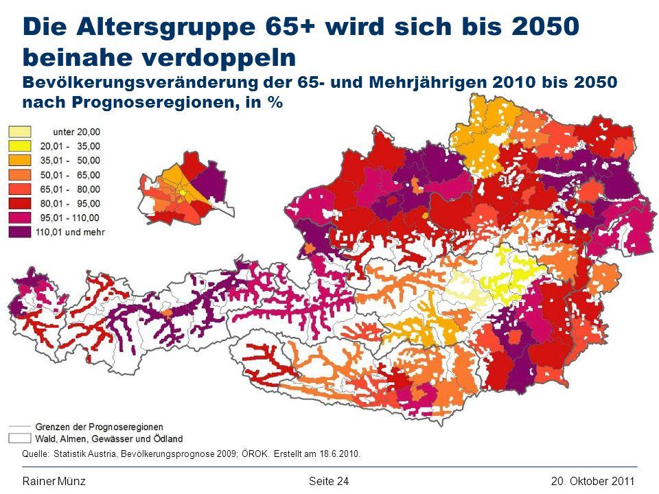Seite 2420. Oktober 2011Rainer Münz E R S T E G R O U P B A N K A G Quelle: Statistik Austria, Bevölkerungsprognose 2009; ÖROK. Erstellt am 18.6.2010.