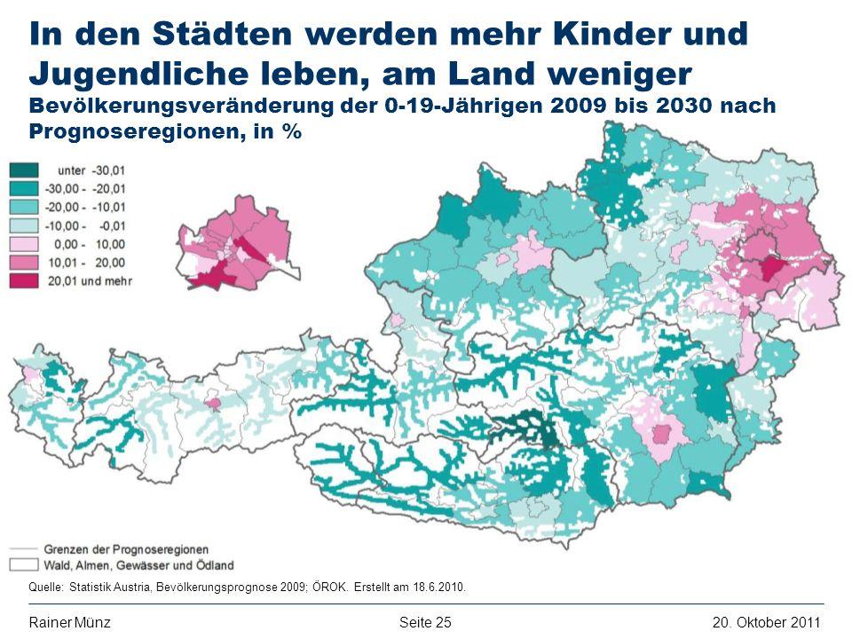 Seite 2520. Oktober 2011Rainer Münz E R S T E G R O U P B A N K A G Quelle: Statistik Austria, Bevölkerungsprognose 2009; ÖROK. Erstellt am 18.6.2010.