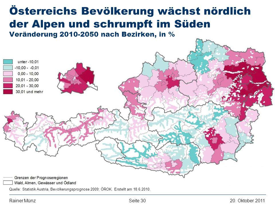 E R S T E G R O U P B A N K A G Seite 3020. Oktober 2011Rainer Münz Quelle: Statistik Austria, Bevölkerungsprognose 2009; ÖROK. Erstellt am 18.6.2010.