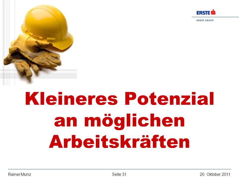 E R S T E G R O U P B A N K A G Seite 3120. Oktober 2011Rainer Münz Kleineres Potenzial an möglichen Arbeitskräften