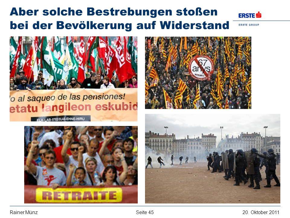 Seite 4520. Oktober 2011Rainer Münz E R S T E G R O U P B A N K A G Aber solche Bestrebungen stoßen bei der Bevölkerung auf Widerstand