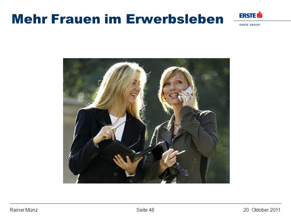 E R S T E G R O U P B A N K A G Seite 4620. Oktober 2011Rainer Münz Mehr Frauen im Erwerbsleben