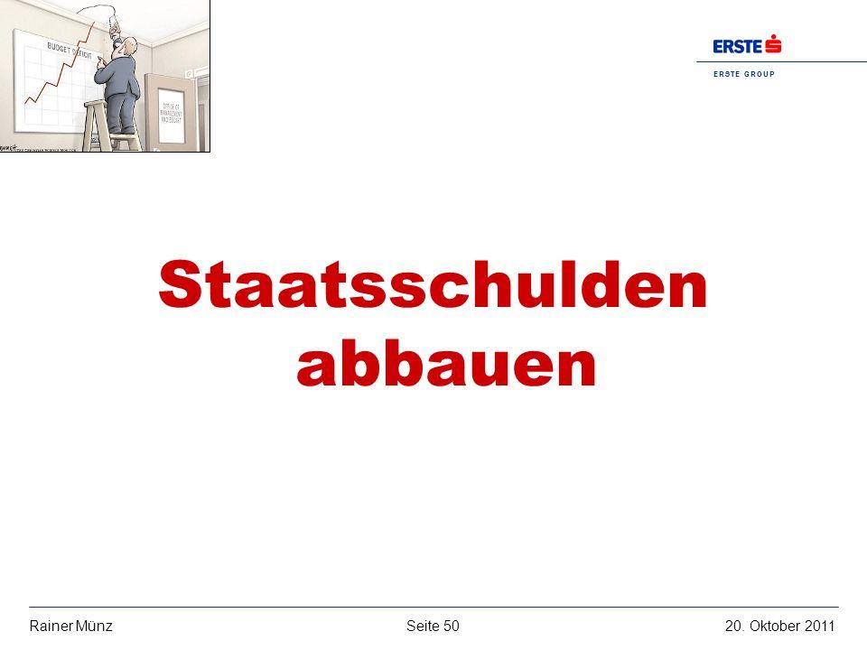 E R S T E G R O U P B A N K A G Seite 5020. Oktober 2011Rainer Münz Staatsschulden abbauen