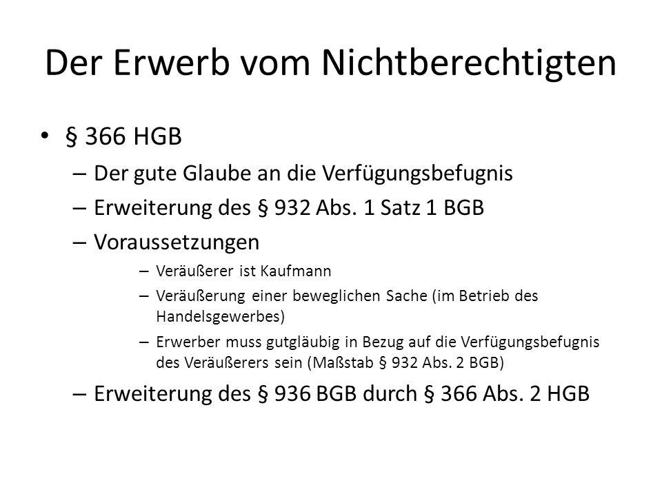 Der Erwerb vom Nichtberechtigten § 366 HGB – Der gute Glaube an die Verfügungsbefugnis – Erweiterung des § 932 Abs. 1 Satz 1 BGB – Voraussetzungen – V