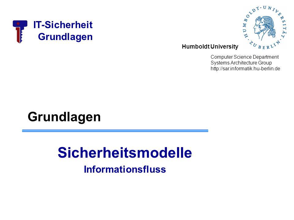 Humboldt University Computer Science Department Systems Architecture Group http://sar.informatik.hu-berlin.de IT-Sicherheit Grundlagen Sicherheitsmode