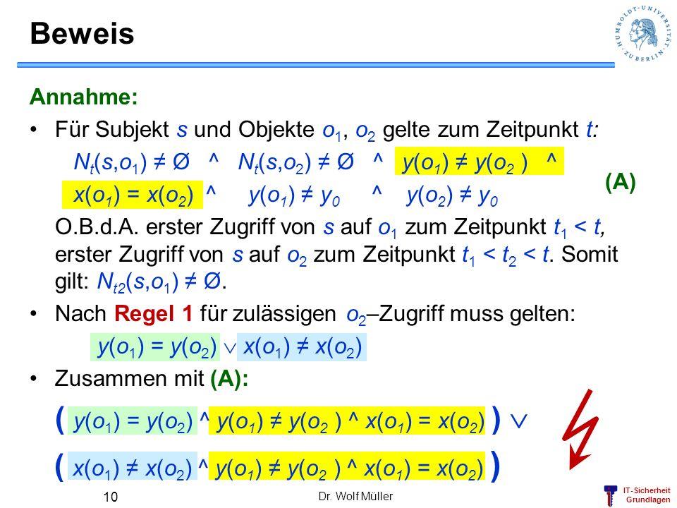 IT-Sicherheit Grundlagen Beweis Dr. Wolf Müller 10 (A) Annahme: Für Subjekt s und Objekte o 1, o 2 gelte zum Zeitpunkt t: N t (s,o 1 ) Ø ^ N t (s,o 2