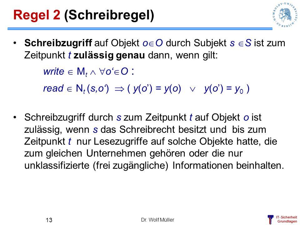 IT-Sicherheit Grundlagen Dr. Wolf Müller 13 Regel 2 (Schreibregel) Schreibzugriff auf Objekt o O durch Subjekt s S ist zum Zeitpunkt t zulässig genau