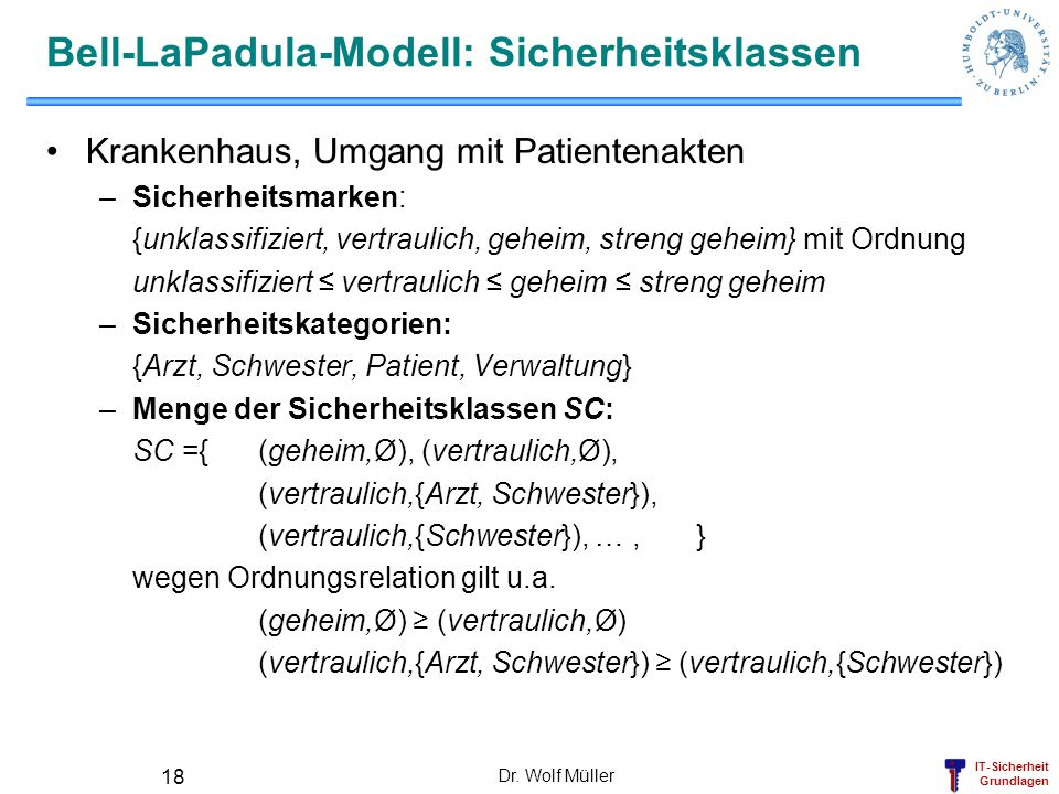 IT-Sicherheit Grundlagen Dr. Wolf Müller 18 Bell-LaPadula-Modell: Sicherheitsklassen Krankenhaus, Umgang mit Patientenakten –Sicherheitsmarken: {unkla