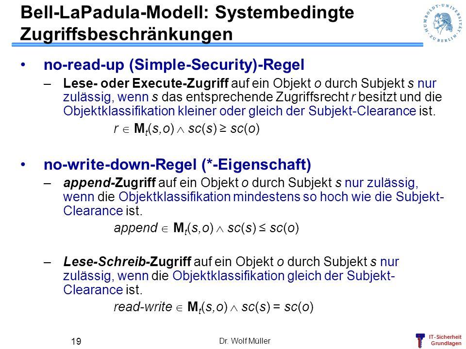 IT-Sicherheit Grundlagen Dr. Wolf Müller 19 Bell-LaPadula-Modell: Systembedingte Zugriffsbeschränkungen no-read-up (Simple-Security)-Regel –Lese- oder