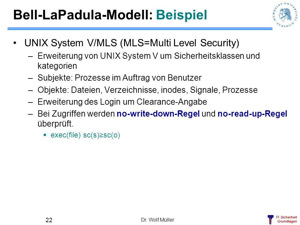 IT-Sicherheit Grundlagen Dr. Wolf Müller 22 Bell-LaPadula-Modell: Beispiel UNIX System V/MLS (MLS=Multi Level Security) –Erweiterung von UNIX System V