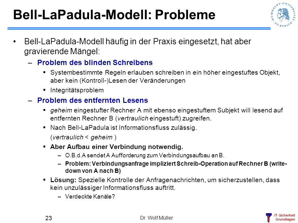 IT-Sicherheit Grundlagen Dr. Wolf Müller 23 Bell-LaPadula-Modell: Probleme Bell-LaPadula-Modell häufig in der Praxis eingesetzt, hat aber gravierende
