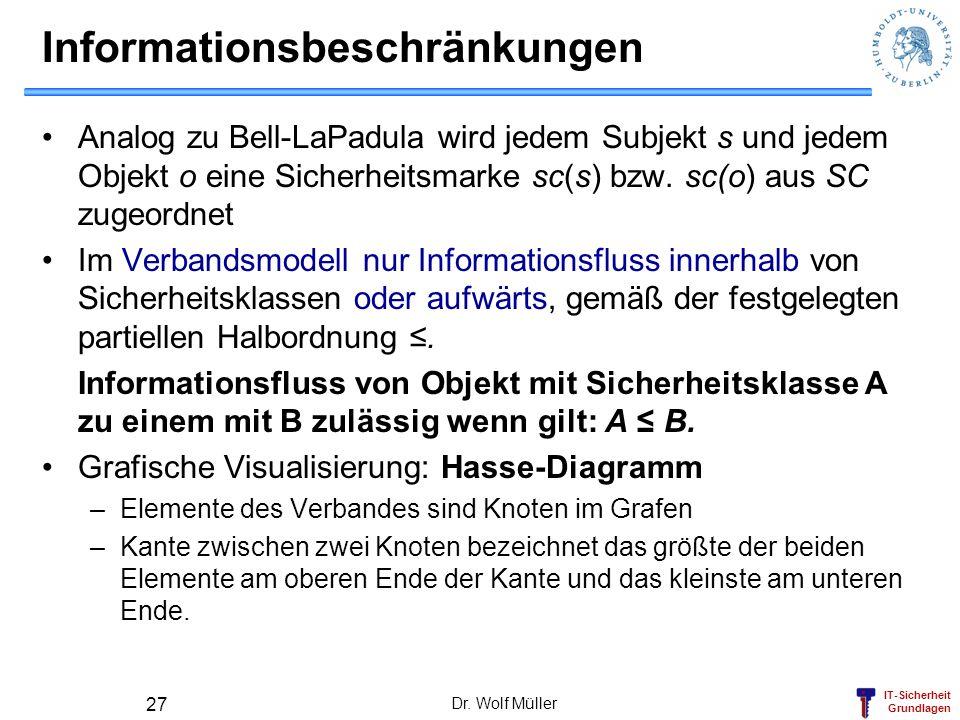 IT-Sicherheit Grundlagen Dr. Wolf Müller 27 Informationsbeschränkungen Analog zu Bell-LaPadula wird jedem Subjekt s und jedem Objekt o eine Sicherheit