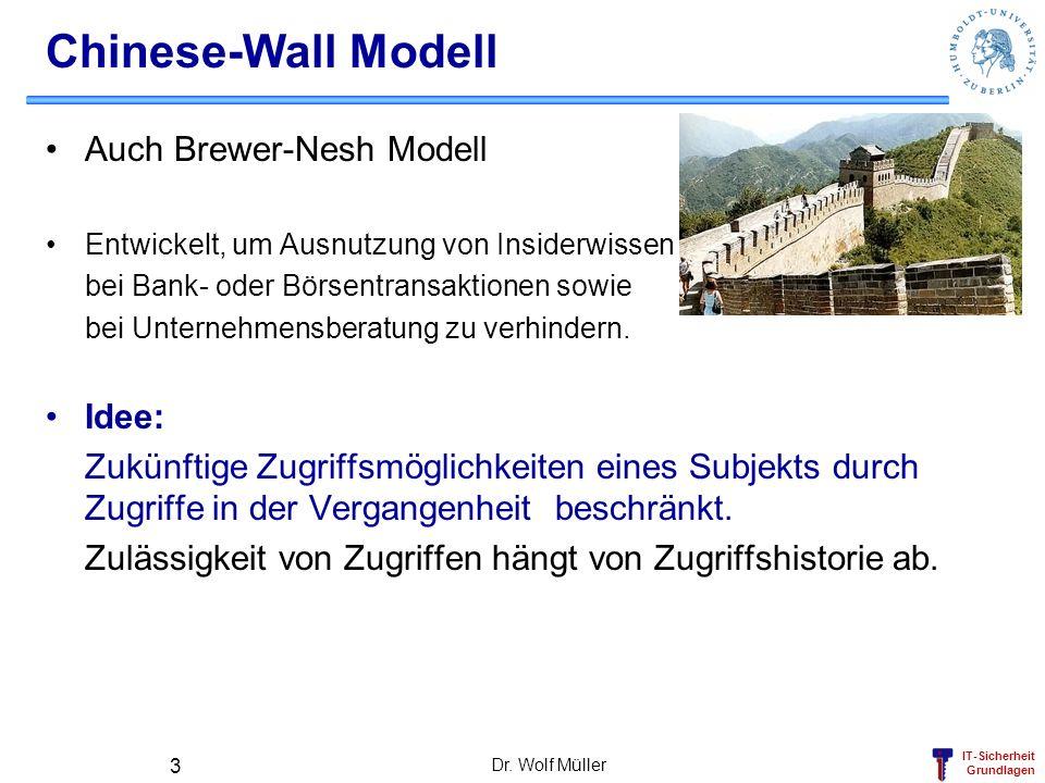 IT-Sicherheit Grundlagen Dr. Wolf Müller 3 Chinese-Wall Modell Auch Brewer-Nesh Modell Entwickelt, um Ausnutzung von Insiderwissen bei Bank- oder Börs