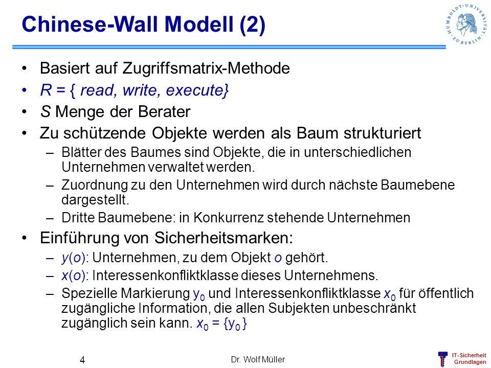 IT-Sicherheit Grundlagen Dr. Wolf Müller 4 Chinese-Wall Modell (2) Basiert auf Zugriffsmatrix-Methode R = { read, write, execute} S Menge der Berater