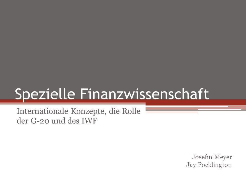 Problemdarstellung Lösungsvorschläge Diskussion Freie Universität Berlin Spezielle Finanzwissenschaft: Internationale Konzepte, die Rolle der G- 20 und des IWF Gliederung