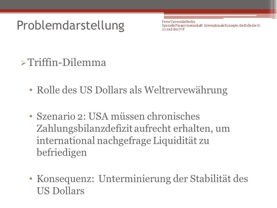 Lösungsvorschläge Mutual Assessment Process der G-20 Framework for strong, sustainable, and balanced growth: Finanzsektorpolitik Fiskalpolitik Geld- und Wechselkurspolitik Strukturpolitik Freie Universität Berlin Spezielle Finanzwissenschaft: Internationale Konzepte, die Rolle der G- 20 und des IWF