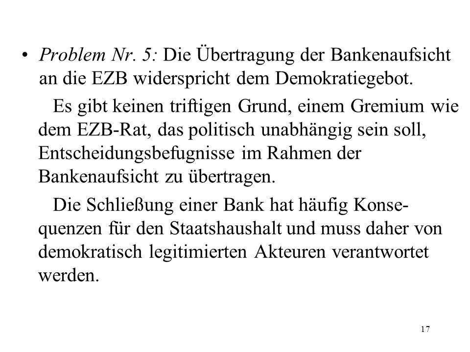 Problem Nr. 5: Die Übertragung der Bankenaufsicht an die EZB widerspricht dem Demokratiegebot. Es gibt keinen triftigen Grund, einem Gremium wie dem E