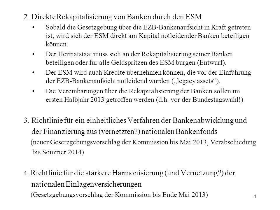 2. Direkte Rekapitalisierung von Banken durch den ESM Sobald die Gesetzgebung über die EZB-Bankenaufsicht in Kraft getreten ist, wird sich der ESM dir