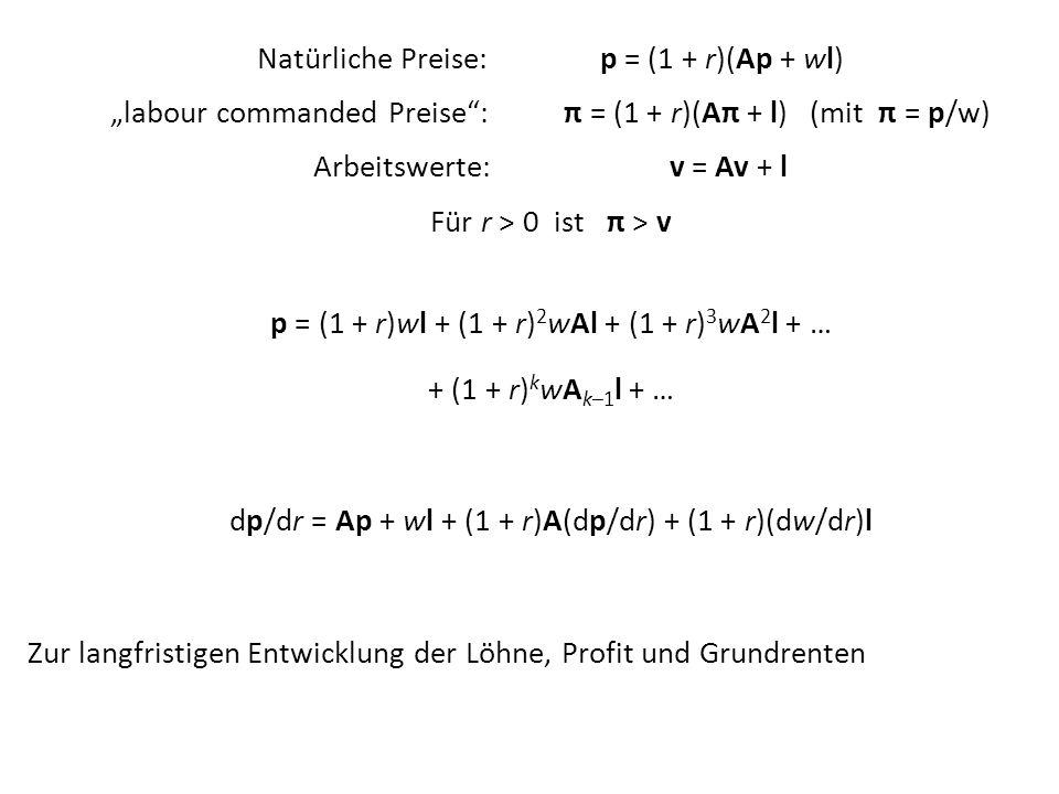 Natürliche Preise: p = (1 + r)(Ap + wl) labour commanded Preise: π = (1 + r)(Aπ + l) (mit π = p/w) Arbeitswerte: v = Av + l Für r > 0 ist π > v p = (1
