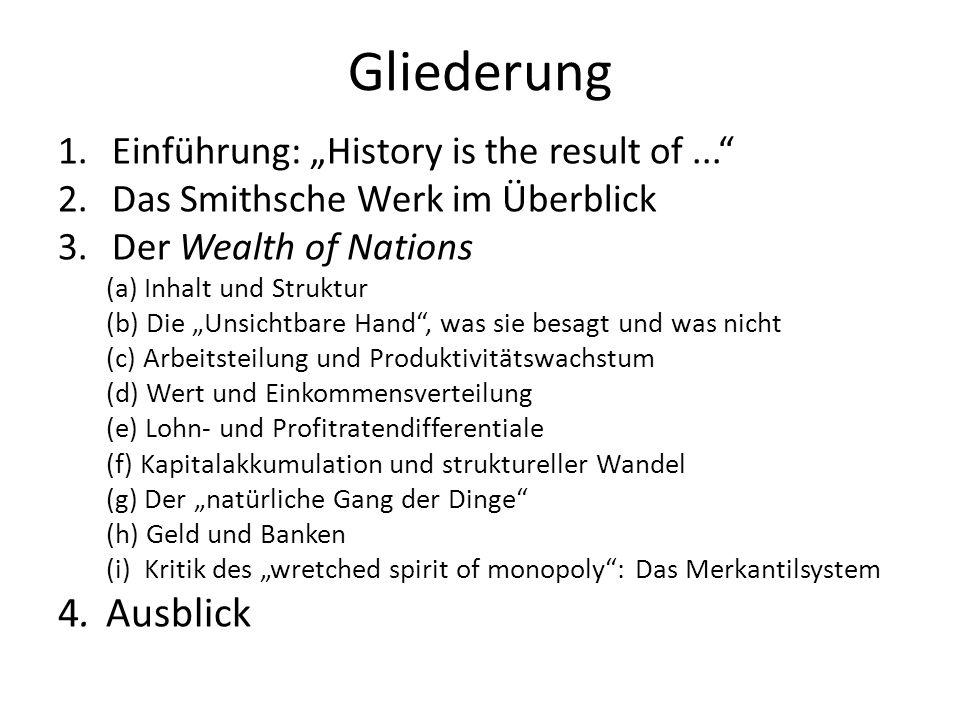 Gliederung 1.Einführung: History is the result of... 2.Das Smithsche Werk im Überblick 3.Der Wealth of Nations (a) Inhalt und Struktur (b) Die Unsicht