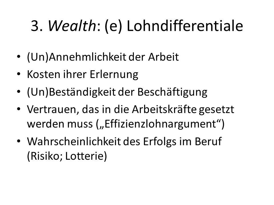3. Wealth: (e) Lohndifferentiale (Un)Annehmlichkeit der Arbeit Kosten ihrer Erlernung (Un)Beständigkeit der Beschäftigung Vertrauen, das in die Arbeit